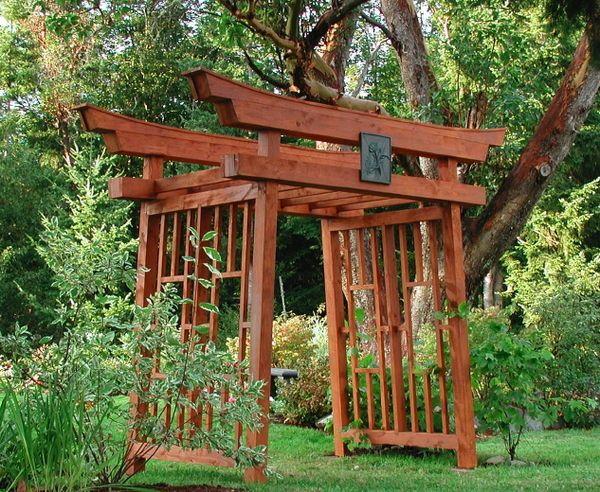 37 best grape vine arbors images on pinterest decks for Japanese wooden garden structures