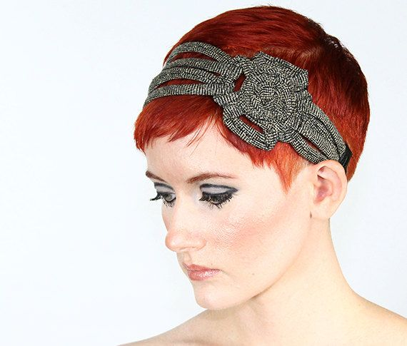 Grey Tweed  winter headband hair wrap by jahannamartinez on Etsy, $35.00