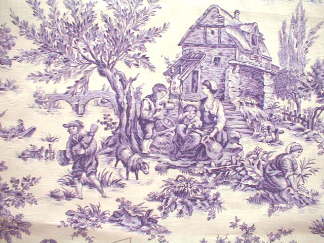 "Toile de Jouy, sometimes abbreviated to simply ""toile"", is a type of decorating pattern which is a repeated pattern depicting a fairly complex scene. The pattern portion consists of a single color, most often black, dark red, or blue. Greens, browns, and magenta toile patterns are less common."