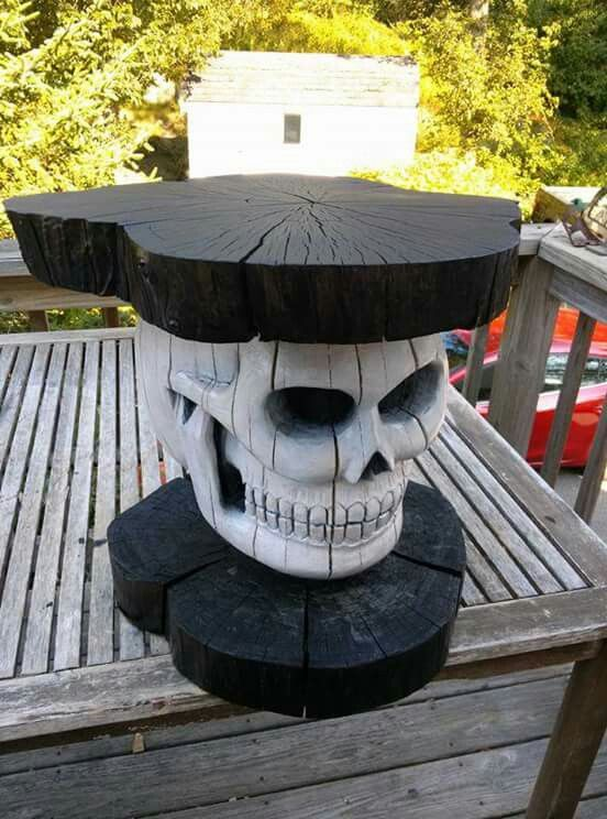Beau Gothic Skull Table : Carved U0026 Painted Wood : Goth Furniture