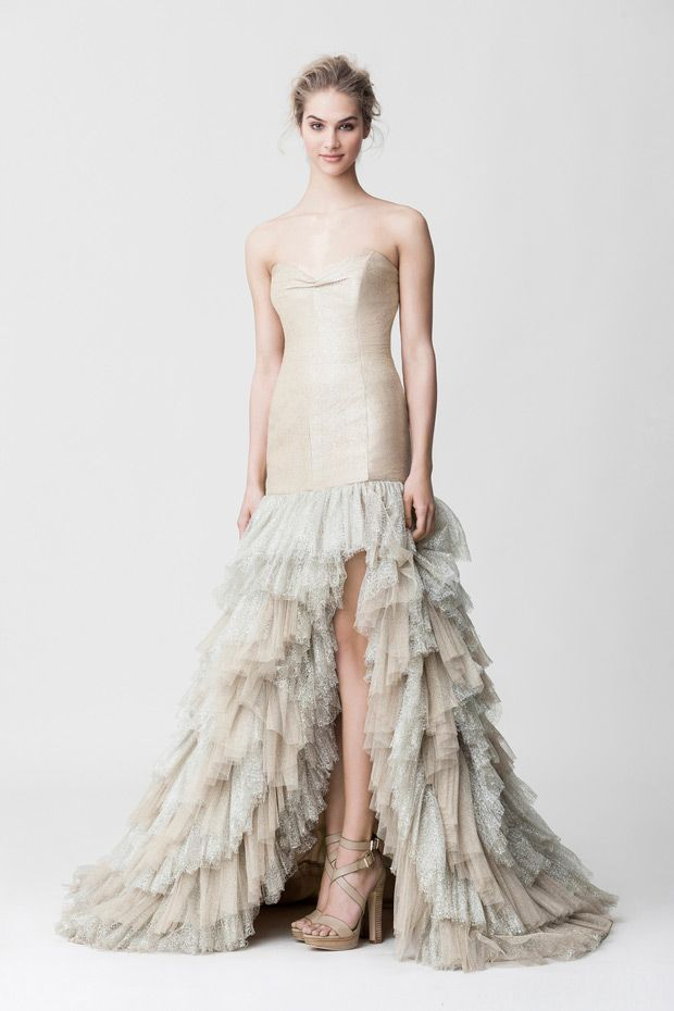 Makany Marta Midsummer Nights Dream Wedding Dresses 2015 - Champagne colour with feminine ruffles, Natasha Dress | See the full collection at www.onefabday.com
