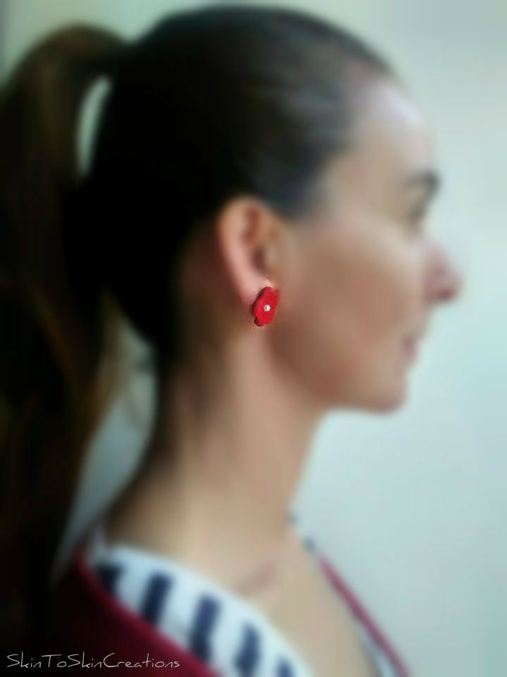 SkinToSkinCreations-Baby poppy leather earrings