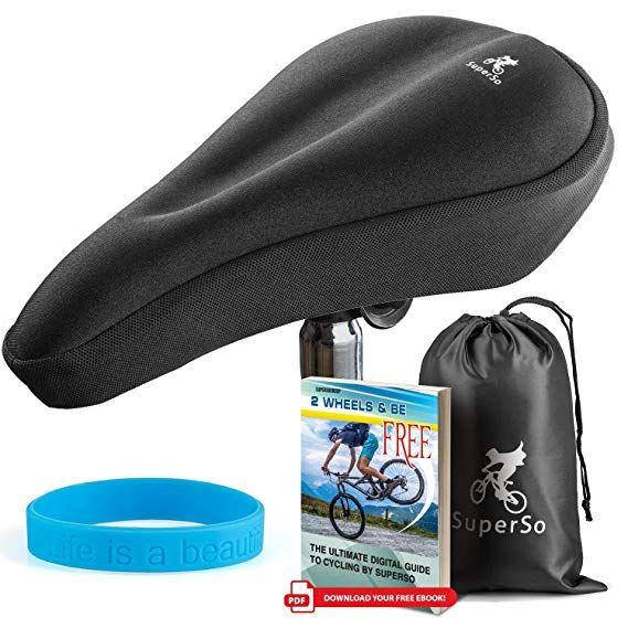 Superso Bike Gel Seat Cushion Cover Premium Padded Bike Saddle