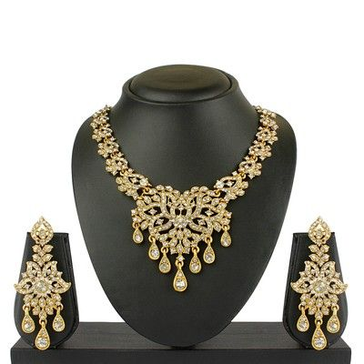 VK Jewels Seven Drops Gold Plated Necklace with Earrings at Best Prices - Shopclues Online Shopping Store