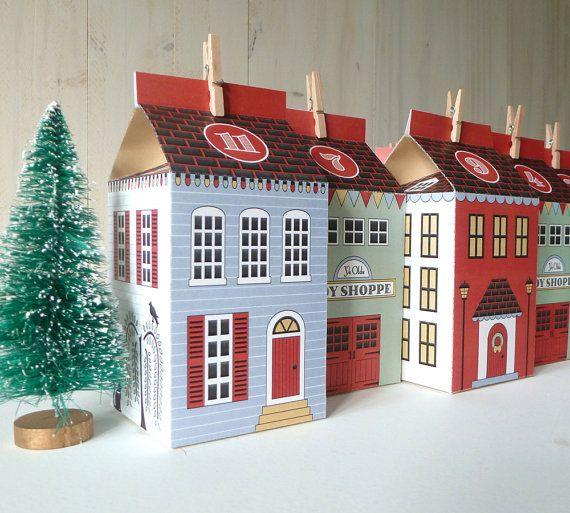 http://petitlien.com/7kse Calendrier de l'avent maisons à imprimer Christmas Village DIY par LittleLlamaShoppe sur Etsy