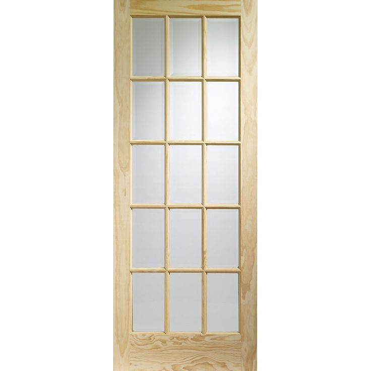 A unfinished internal clear pine door featuring 15 clear glazed panels. The SA77 clear pine door allows for a significant amount of light to enter the room