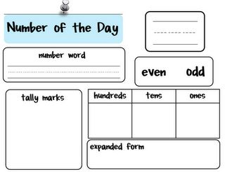 Showing a number in a variety of ways. Maybe could laminate and put in calendar area to do as a class.
