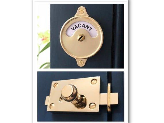 Vintage Style Indicator Bathroom Toilet Door Brass Vacant Engaged Lock Bolt Occupied Washroom Restroom Lavatory Fitting Room Changing Decor Door Pull Handles Toilet Door Bathroom Toilets