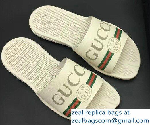 ad56f118faa Gucci Men  s Slide Sandals Vintage Logo White 02 2018 Mens Slide Sandals