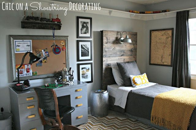 Chic on a Shoestring Decorating: Bigger Boy Room Reveal cute ideas like framed army map poster  army desk