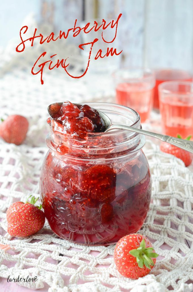A super easy and tasty recipe for strawberry gin jam using up the gin soaked berries from making strawberry and lavender gin by larder love.