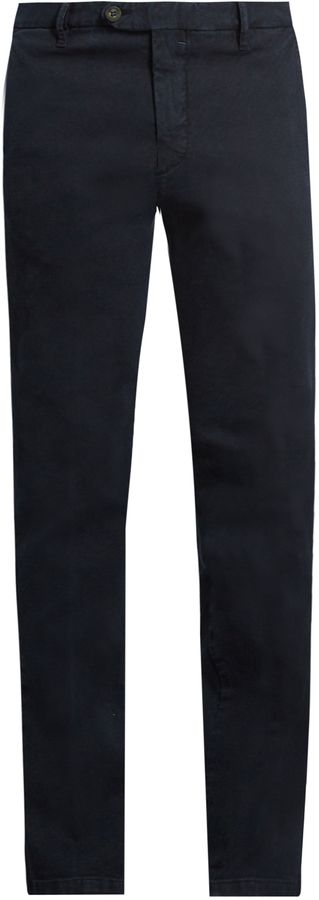 J.W. BRINE James slim-leg stretch-cotton jacquard trousers