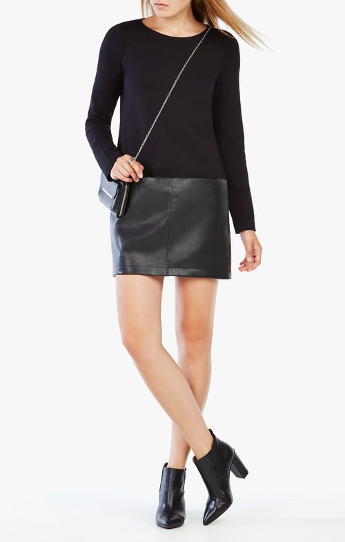 Jaylinn Faux-Leather-Blocked Dress BCBG