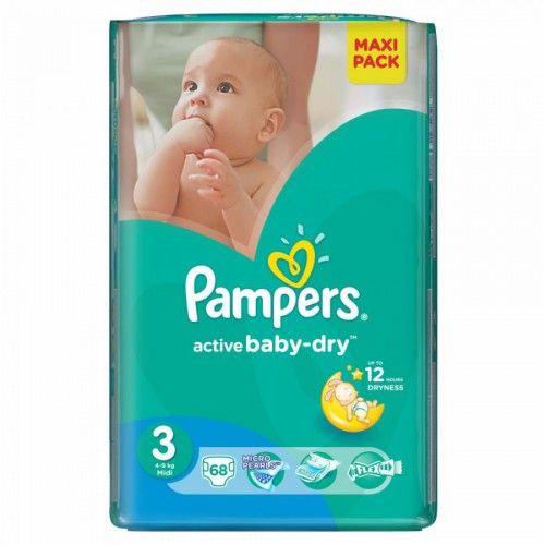 PAMPERS Active Baby VPP Midi 4-9kg 68ks  Plenky Pampers pro miminko levně! Doprava zdarma při objednání nad 1000 Kč!   https://babyplenky.cz/