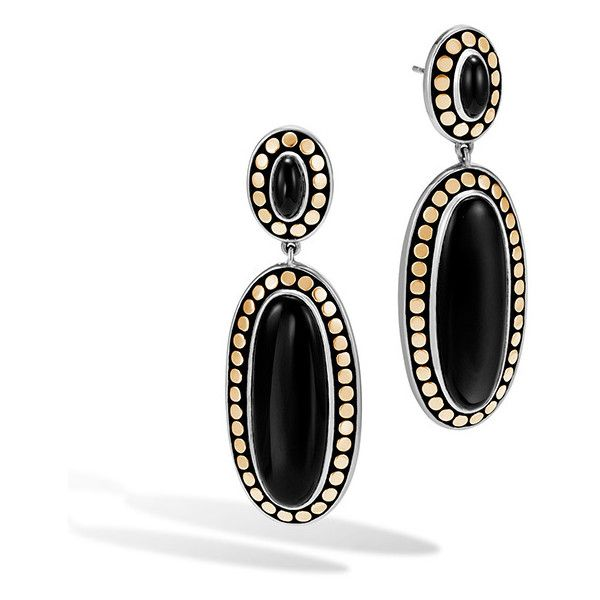 John Hardy Dot Gold & Silver Black Onyx Drop Earrings ($1,695) ❤ liked on Polyvore featuring jewelry, earrings, drop earrings, gold jewellery, yellow gold earrings, yellow gold jewelry and yellow gold drop earrings