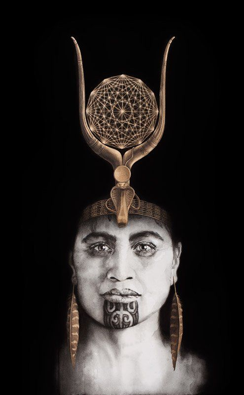 Queen of Raa Maori woman portrait painting with moko kauae and Egyptian crown by Sofia Minson