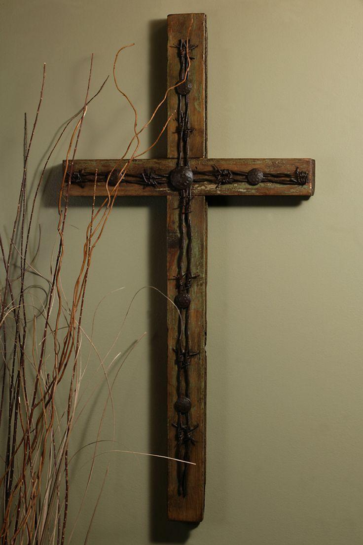 "Rustic Barbed Wire Old Door Cross-32"" – Celebrate Faith"