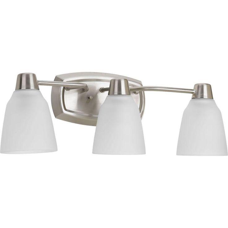 progress lighting asset collection 3light brushed nickel fluorescent bath