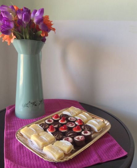 Platter: Dessert- Lemon squares and bite-size assorted cheesecakes