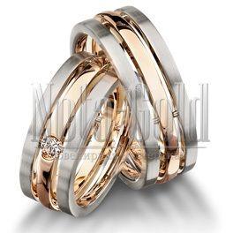 2001 Двухцветные обручальные кольца с бриллиантом на заказ (Вес пары: 15 гр.)