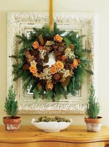 Grapevine Wreath Makeover - Fill out a store-bought grapevine wreath with materials from your yard, a crafts store and florist's shop.    Tuck in fresh greens, wired pinecones, dried flowers, leaves, pods and half a dozen fresh roses in water-filled floral tubes. Add a quick accent by spray-painting pinecones in a coordinating color and piling them nearby in various pretty vases or planters