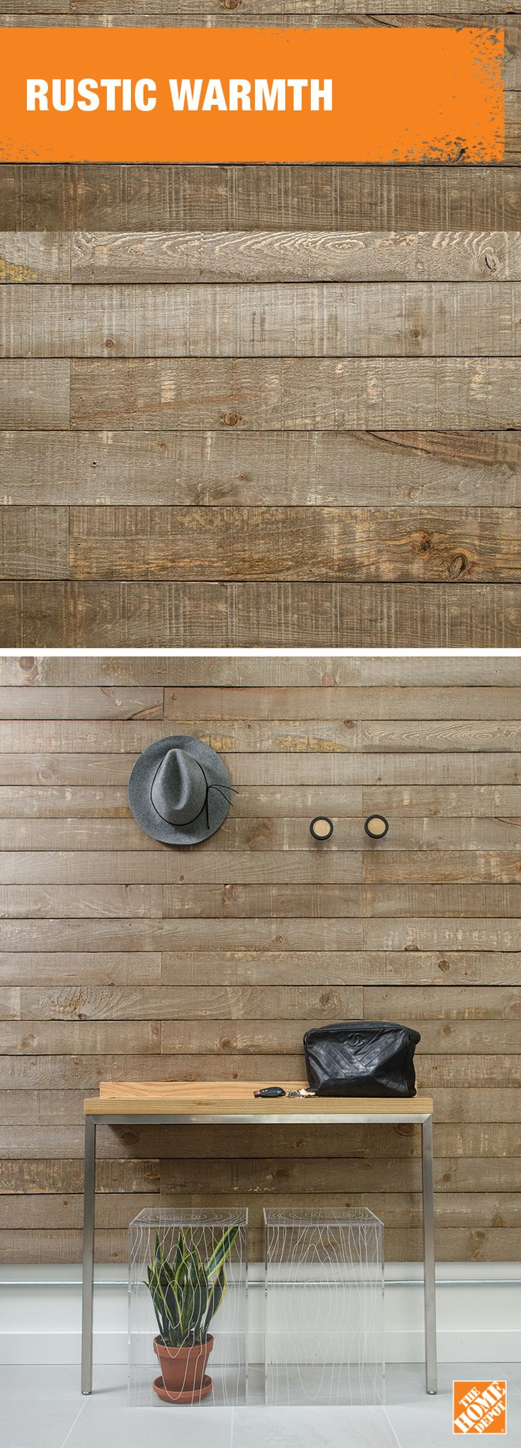 Naturally finished barn boards add a warm touch to cool tiles. Learn more at homedepot.ca.
