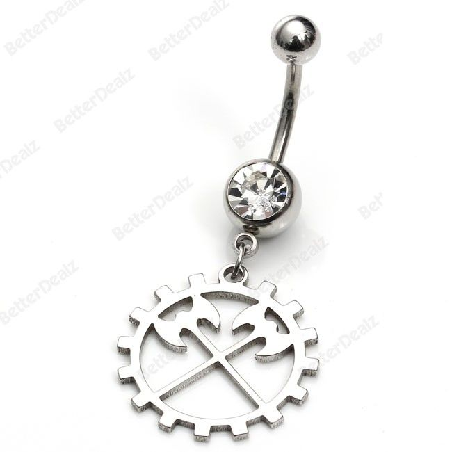 Double axe Belly Navel Ring Barbell Bar Body Piercing Stainless Steel