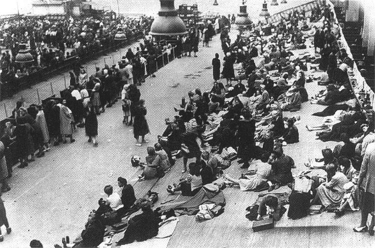 French confining 1000s of Jews in Paris's Velodrome d'Hiver stadium, ready for deportation to concentration camps.