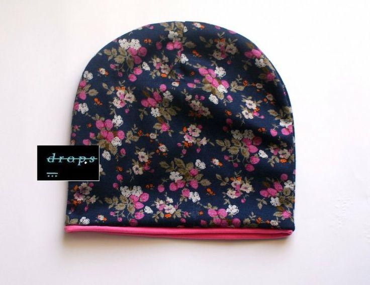 czapka w kwiaty w drops. na DaWanda.com