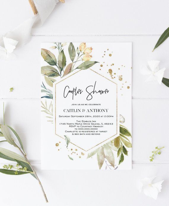 Gold Greenery Couples Shower Invitation, Bridal shower Invitation Template, DIY Editable PDF, Instant Download, WLP1261