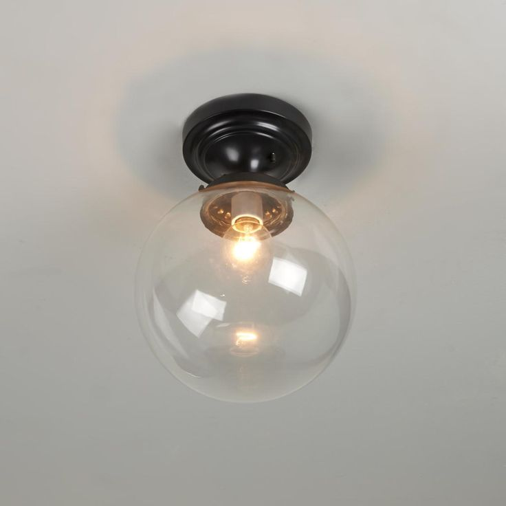 Glass Globe Ceiling Light Clear or White Glass