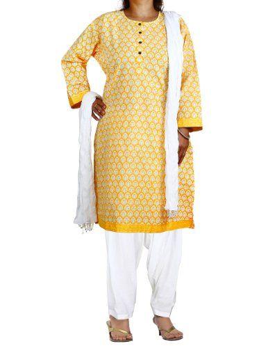 Yellow Kameez White Salwar Dupatta Indian Outfits for Women Size XXL ShalinIndia,http://www.amazon.com/dp/B00DXZIG4G/ref=cm_sw_r_pi_dp_bFeHtb16636P1773