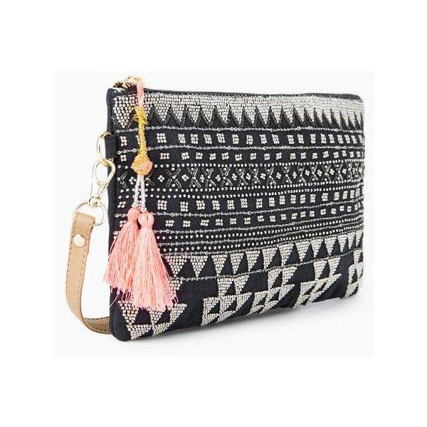 Bead Ethnic Bag (92 BRL) ❤ liked on Polyvore featuring bags, handbags, shoulder bags, long handbags, mango handbags, zipper purse, zip purse and beaded shoulder bag