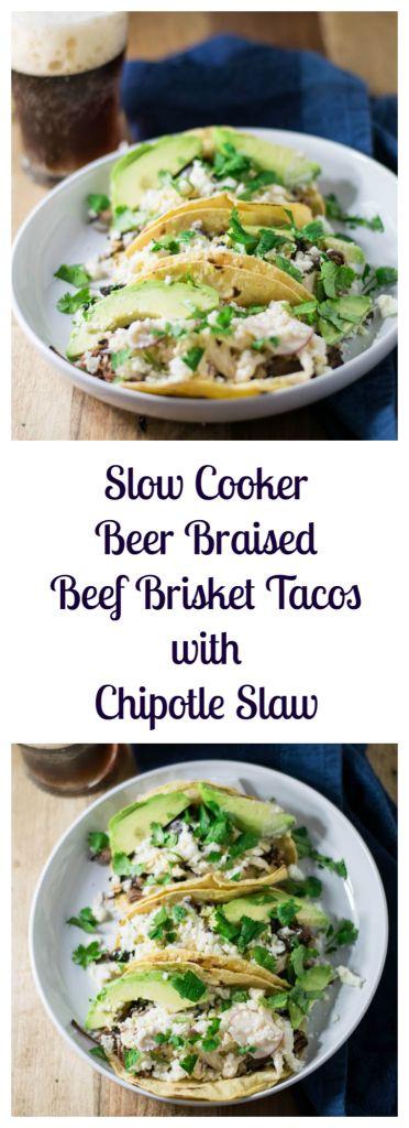 Slow Cooker Beer Braised Beef Brisket Tacos with Chipotle Slaw | Beer Girl Cooks