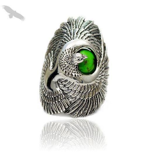 Чистого серебра безымянный палец кольцо хорошие вибрации 925 чистого серебра бирюза орел кольцо