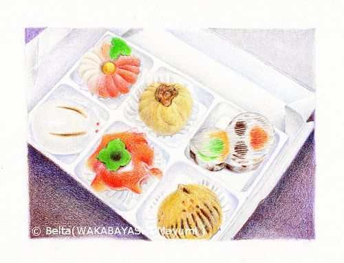 2013_05_26_aki_01_s    島根県松江市の和菓子屋さん、  松江 たちばなの和菓子    These are wagashi.    Wagashi is general term for characteristically Japanese confectionery.          wagashi is beautiful and delicious.  I love !    For this piece I used:   Faber-Castell Polychromos   Stonehenge paper