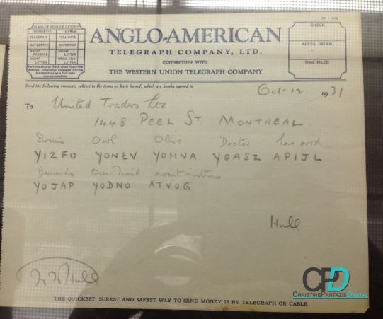 Canadian Club Whisky - History & Heritage :: Telegrams with Code during prohibition! #CanadianClub #Whisky #Windsor #Walkerville #History #Heritage #Prohibition #CC #LocalTourism #Travel #Local #SightSeeing #Historic #HiramWalker #BrandCenter #BlogPost