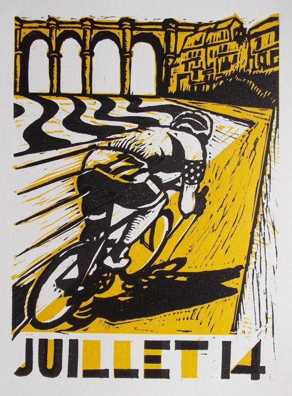 Tour de France - Yorkshire Grand Départ Original Linocut  Print