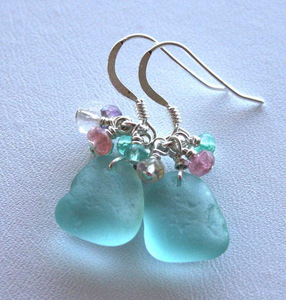 Sea Glass Jewelry Dark Aqua Earrings by OceanCharmsSeaGlass, $24.00