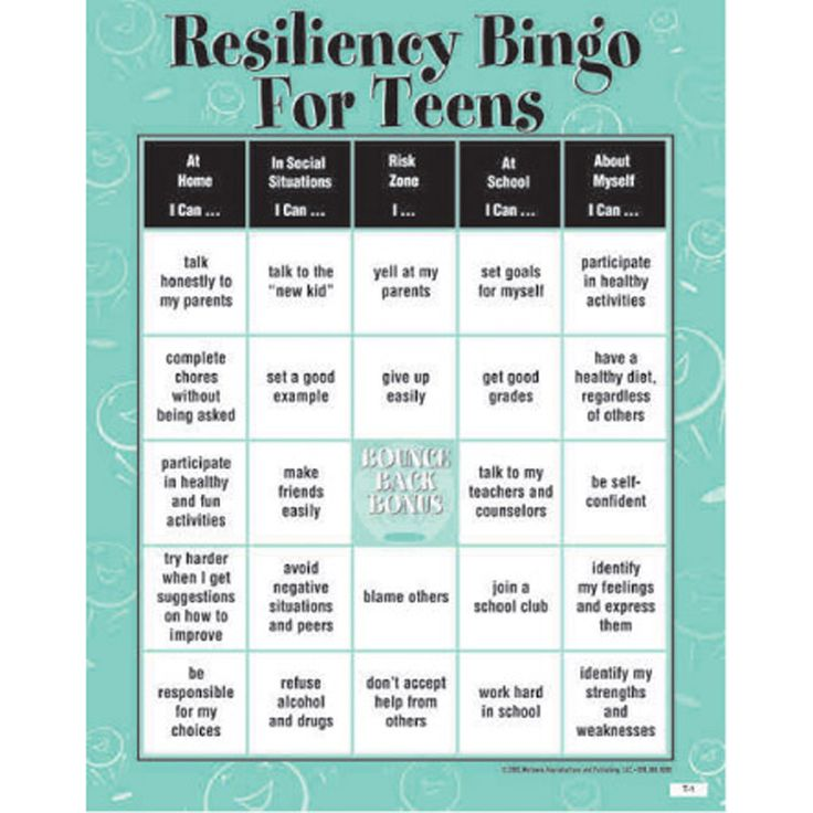 Resiliency Bingo Game for Teens #marshacollins #marsharealtor #ilovemyhouse