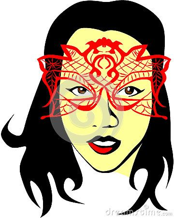 Colored vector drawing of a dark-haired woman who wears a red mask.