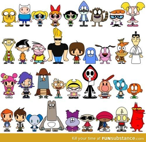 I used to watch billy and mandy, ed edd and eddy, ben 10, dexters lab, fosters home, cowardly dog and Johnny Bravo