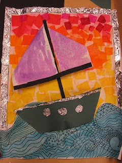mixed media collage seascape- Gr.4
