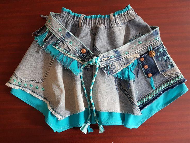 Miniröcke - Jeans-Minirock im Lagenlook mit coolem Gürtel, 105 - ein Designerstück von Majoni bei DaWanda