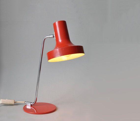 Vintage red German desk lamp gooseneck lamp by LeKosmosBerlin