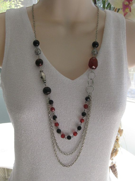 Red Necklace Multi Strand Necklace Silver by RalstonOriginals, $18.00