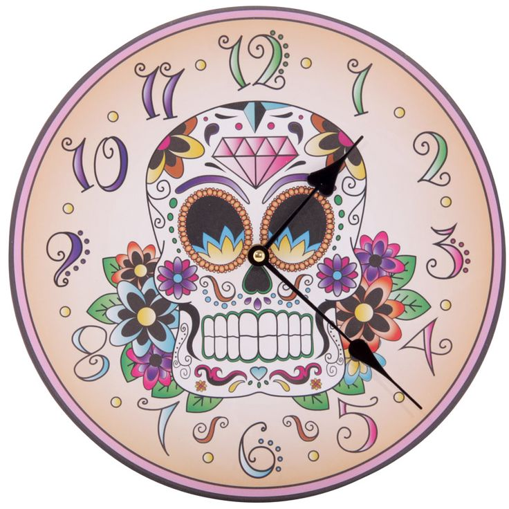 Fun Candy Skulls Day of the Dead Skull Wall Clock £14 + FREE P&P  Each clock is made from MDF and has a standard plastic clock movement that requires 1 AA battery. All are wall mountable and come in a decorative but simple display box making them ideal gifts.  Dimensions: Diameter 30cm  #htlmp #readytopost #hikerneeds #skull #dayofthedead #decor #home