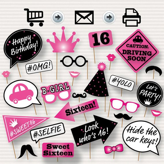 The listing will be for one digital PDF file with 27 images for a printable photo booth set for a Sweet Sixteen Birthday Party! As soon as your
