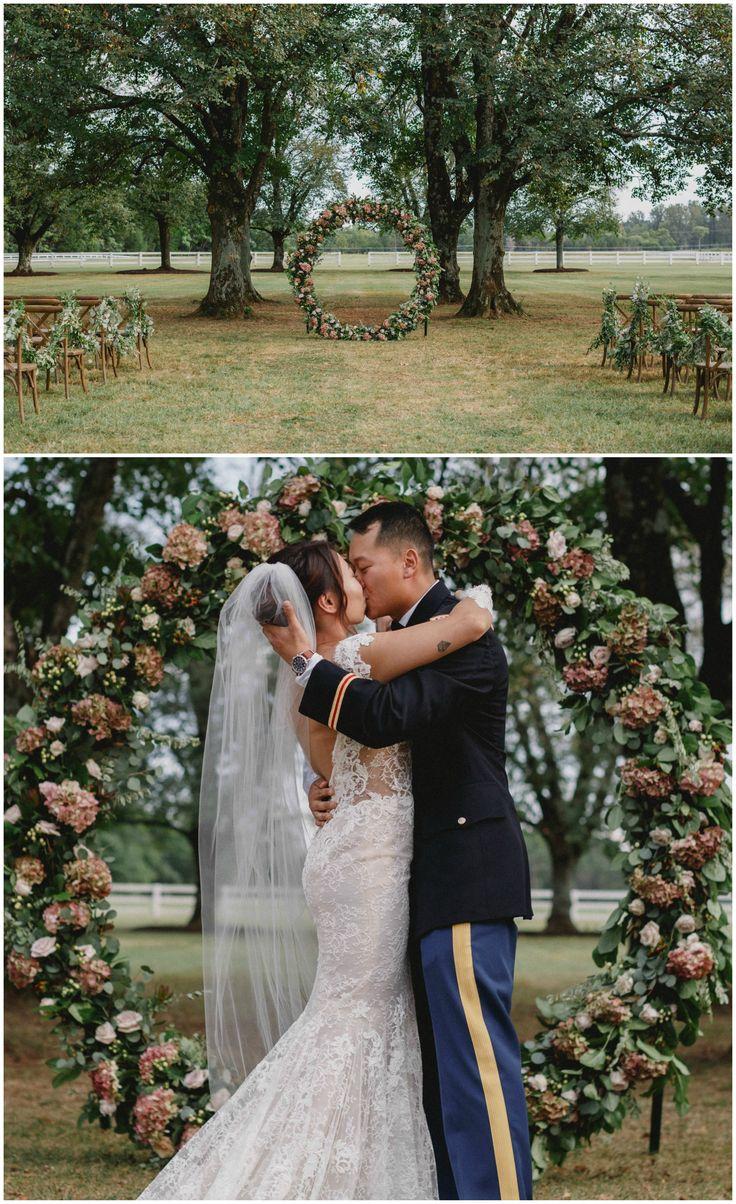 Circular wedding arbor, romantic outdoor wedding ceremony, soft blush colored florals // Valerie Demo Honest Portraiture