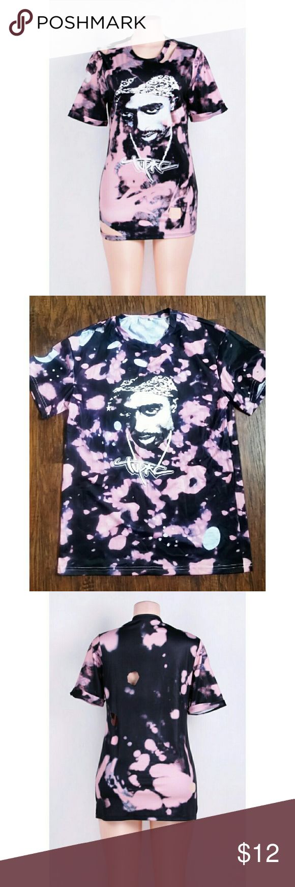 New Tupac T-Shirt Shakur Acid wash pink printed Tupac T-Shirt with holes. Festival, hip hop, 2pac, 90s Tops Tees - Short Sleeve